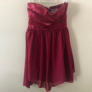 Strapless Red Sequence Dress